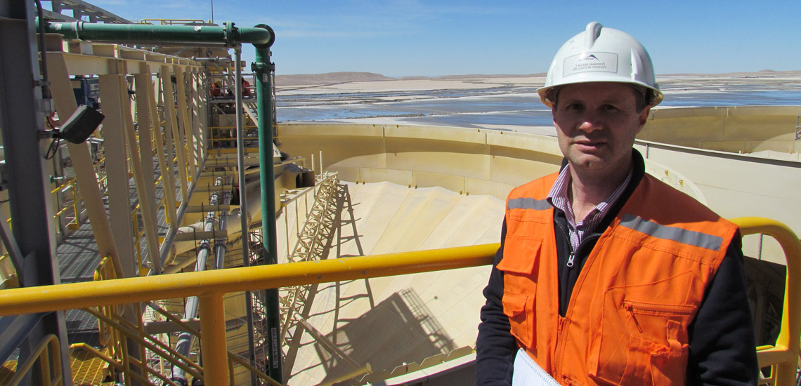World's largest tailings paste thickener with picket rake structure at a copper mine in Chile